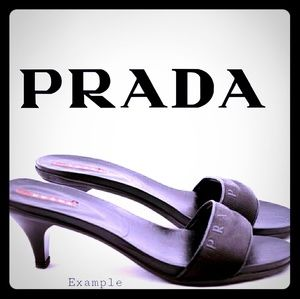 PRADA Black Nastro Nylon Sandals w/Kitten Heel